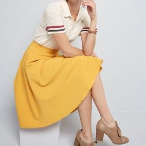 Modcloth yellow Just This Sway A-Line Pocket Skirt